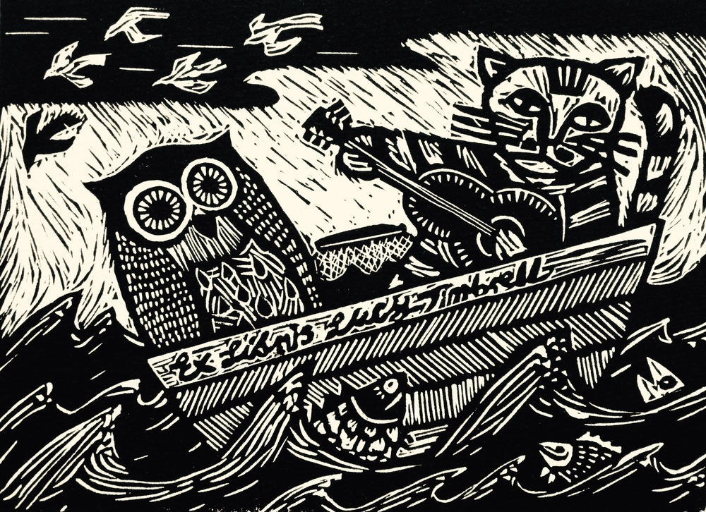 They sailed away for a year and a day   Linocut, 2015  Edition of 7  SOLD OUT