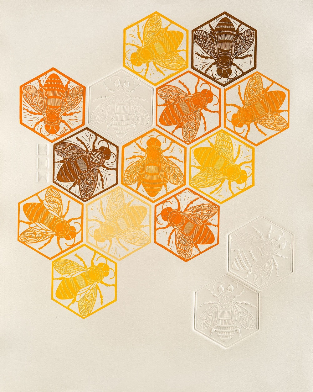 Diminishing Returns   Linocut with embossing, 2016  Edition of 3  Paper size: 90 cm x 70 cm  $600   Diminishing Returns  explores the recent decline of bee populations worldwide. Colony Collapse Disorder and the reduction in bee numbers potentially has a devastating effect upon the pollination of plants and food production.   Research is being undertaken by the CSIRO in Tasmania to find out more about this global problem. Tiny sensors have been placed onto 10,000 bees to trace movement and exposure to certain elements. Hopefully this will help us to understand more about this mystery and how it can be addressed.