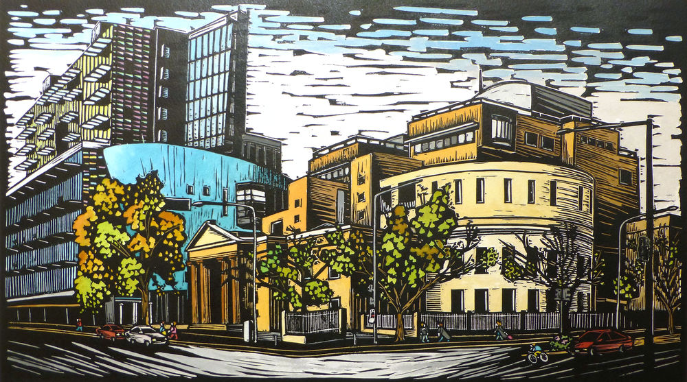 Adelaide Law Courts, Victoria Square   Hand coloured linocut, 2014  Edition of 16  Image size: 33.5 cm x 59 cm  Paper size: 56 cm x 76 cm  This piece was commissioned by Uni SA to be given as gifts to visiting barristers, including Sir Justice Kirby.