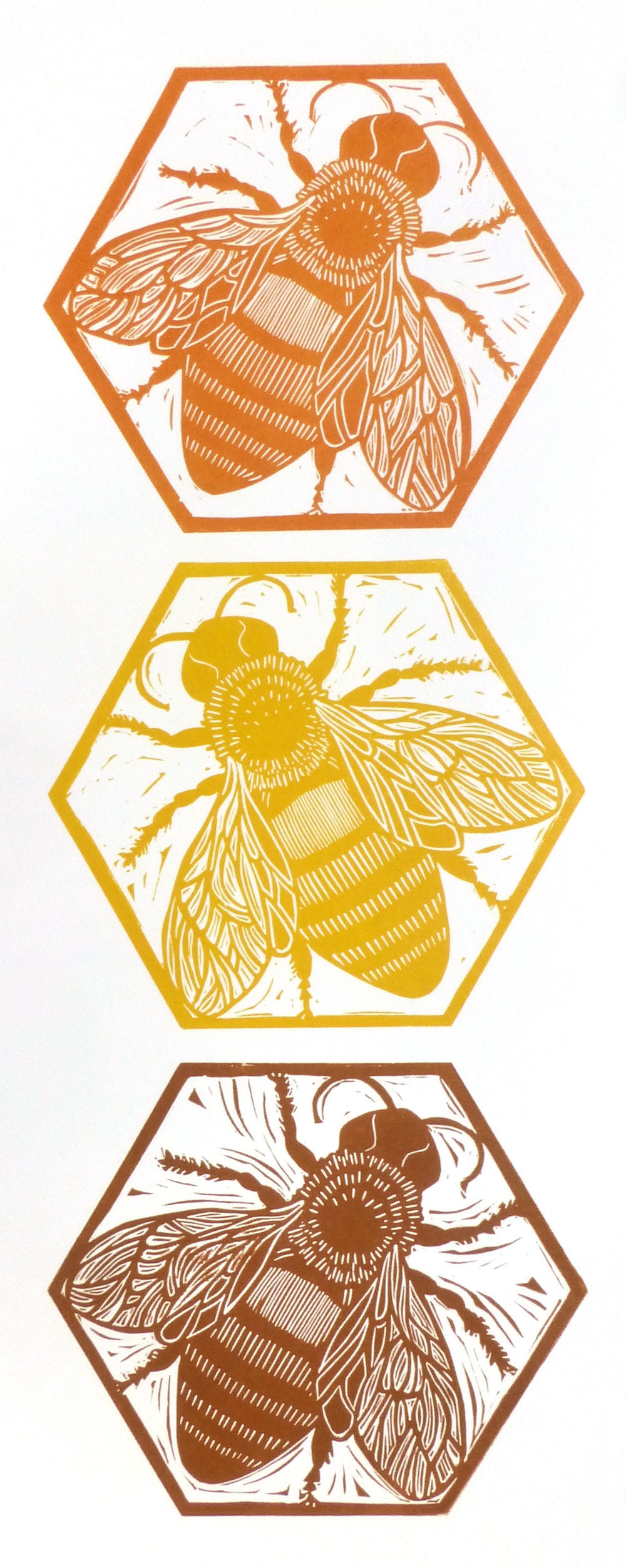 Traffic Light Bees   Linocut, 2016  Edition of 10  Paper size: 50 cm x 20 cm  $60