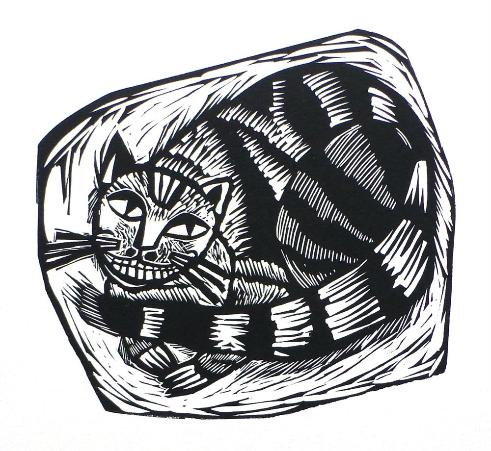 The Cheshire Cat   Linocut, 2017  Edition of 20  Paper size: 25 cm x 25 cm  $70
