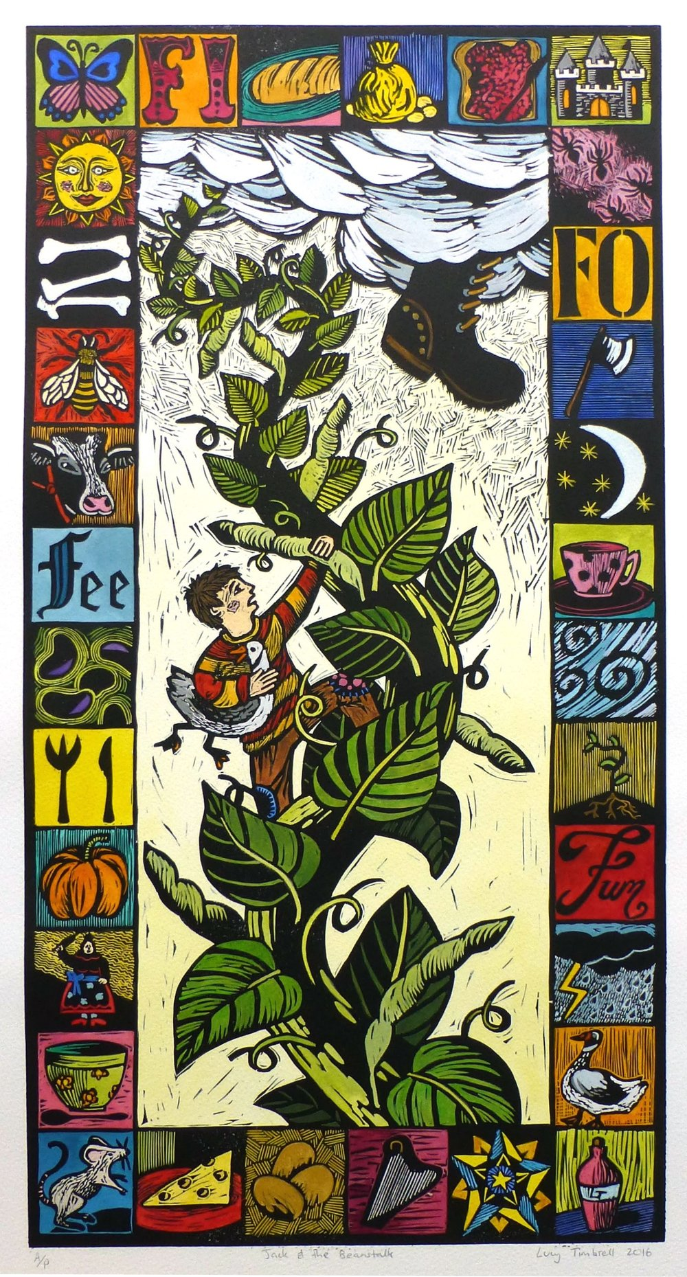 Jack and the Beanstalk   Hand coloured linocut, 2016  Edition of 15  Image size: 61 cm x 31 cm  Paper size: 76 cm x 43 cm  $300