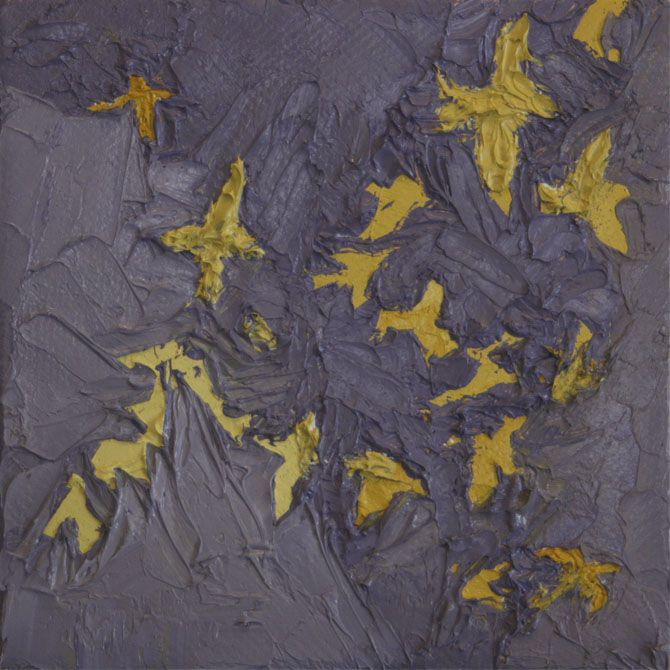 Flight Study Cuckoo ,  2012  Oil and wax on canvas 4 in. x 4 in.
