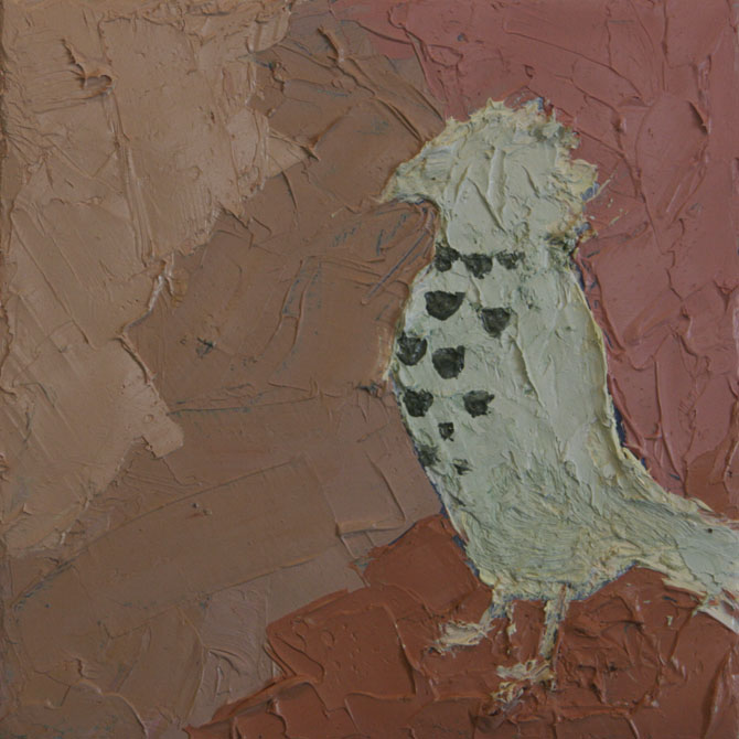 Red-headed Finch Study ,  2012  Oil and wax on canvas 4 in. x 4 in.