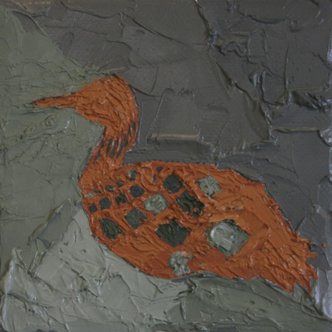 Loon Study ,  2012  Oil and wax on canvas 4 in. x 4 in.