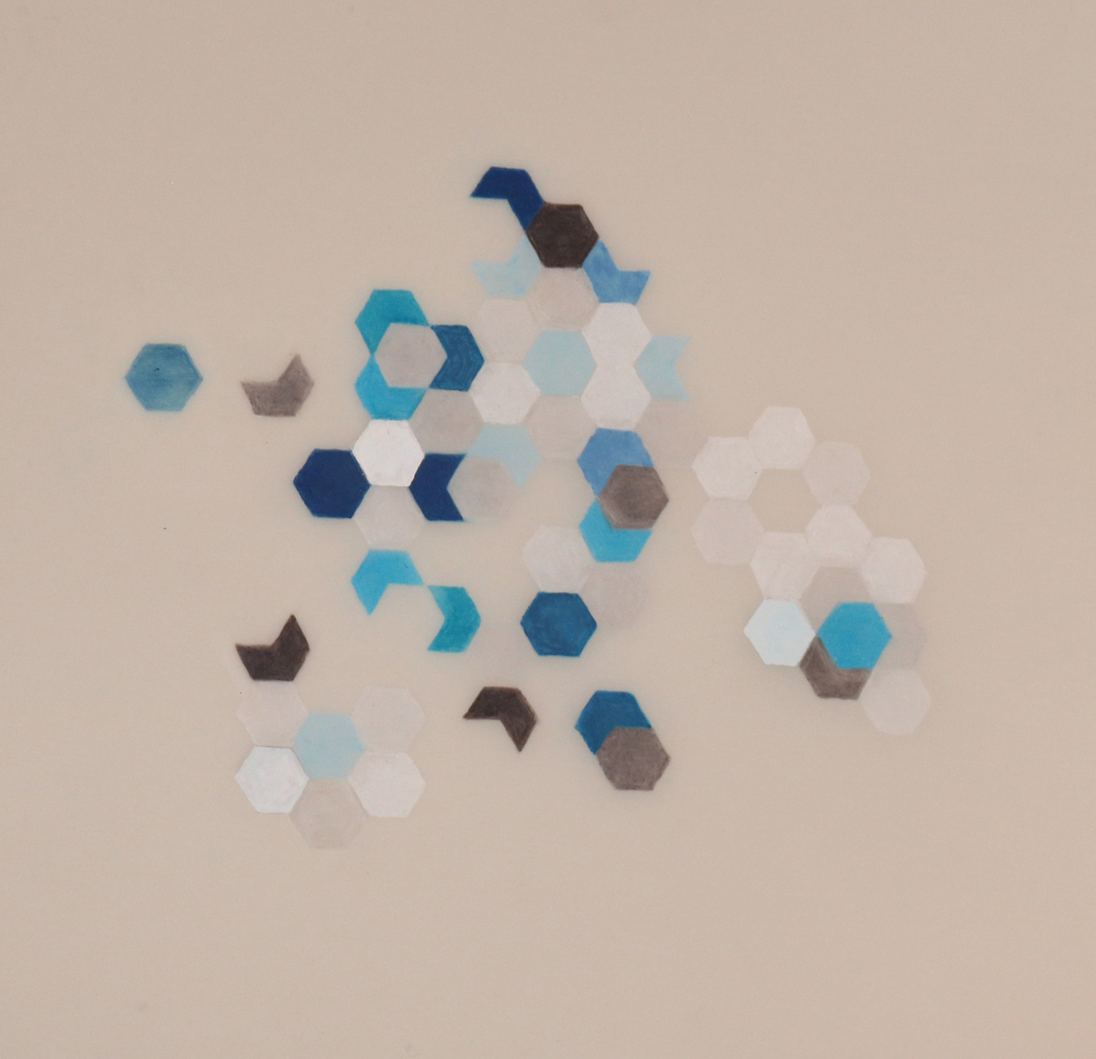 Hexagon Flower Study      2014 Mixed media on Dura-lar 9 in. x 9 in.