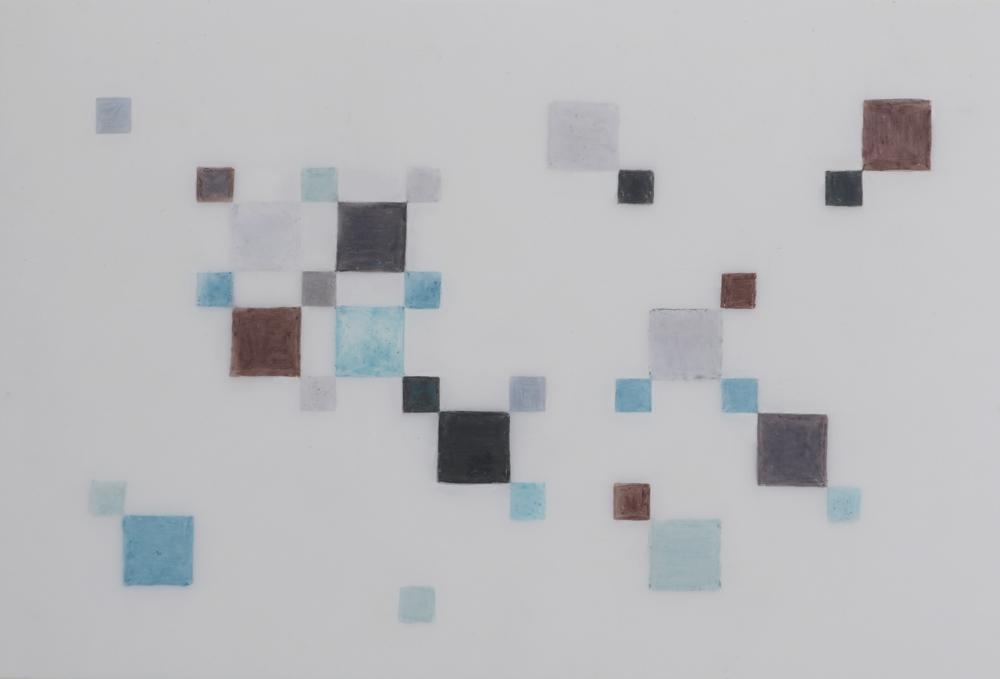 Irish Chain Block Study   2014 Prismacolor on Dura-lar 3 in. x 5 in.