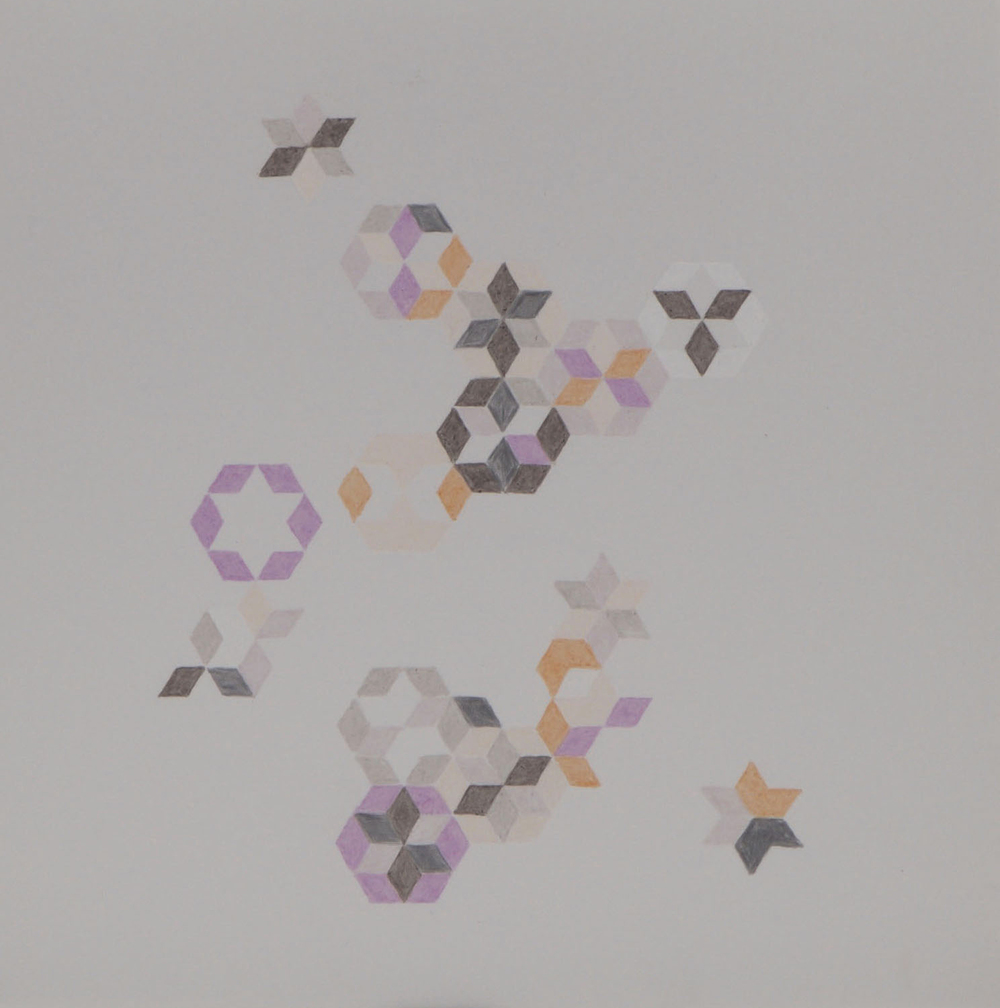 Six-Pointed Star Study   2014 Prismacolor on Dura-lar 9 in. x 9 in.