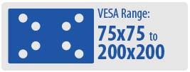 VESA Range: 75x75 to 200x200   Small TV Wall Mount