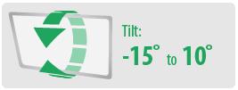 Tilt: -15 to 10°   Large TV Wall Mount