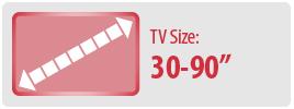 "TV Size: 30-90""   Universal Soundbar Mount"