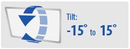 Tilt Range: -15 to 15 degrees