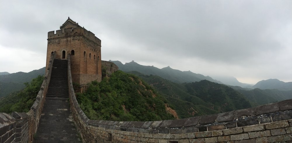 Restored section of Great Wall with many gates in background
