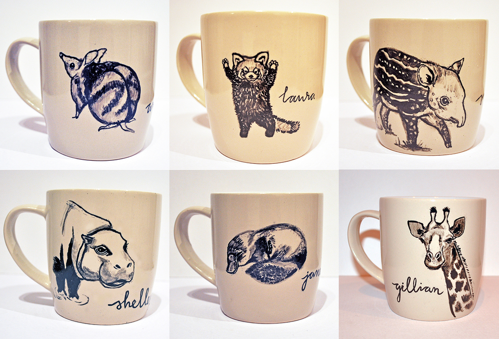 Hand-painted mugs - given as Christmas gifts to work colleagues, including favourite animal and name