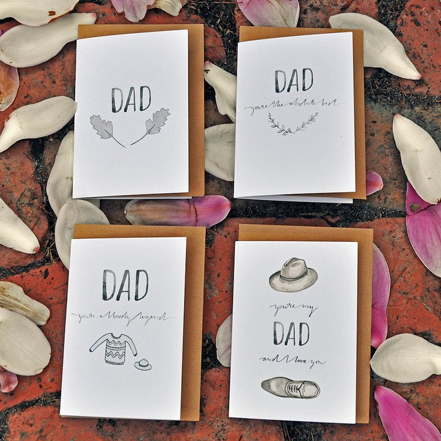 Handlettering & watercolour - Father's Day Cards
