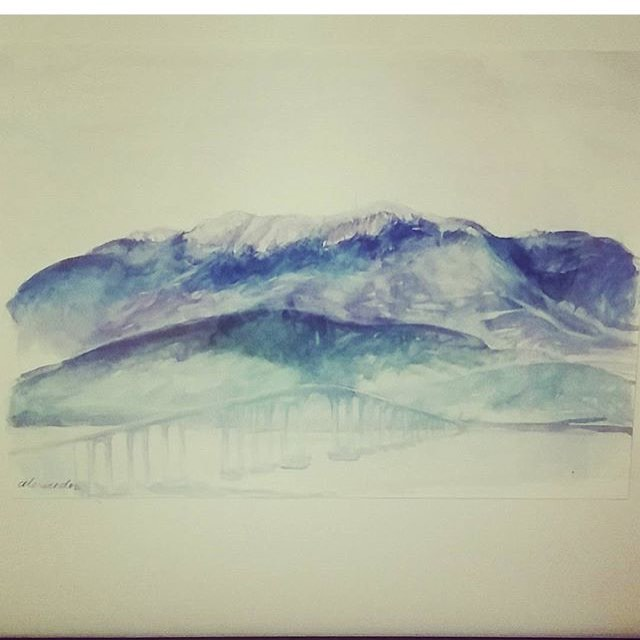 Watercolour of Mt Wellington for engagement present for @emitchell45 from @caitlinfoster_ 🏔💍