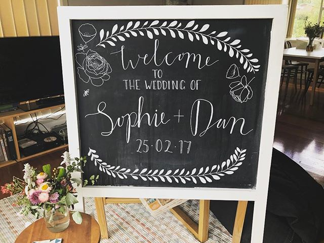 Congrats to @sophiebleach & @sinkosaw on getting hitched last weekend & thanks for letting me do the signage! 👰🏻🤵🏼💕