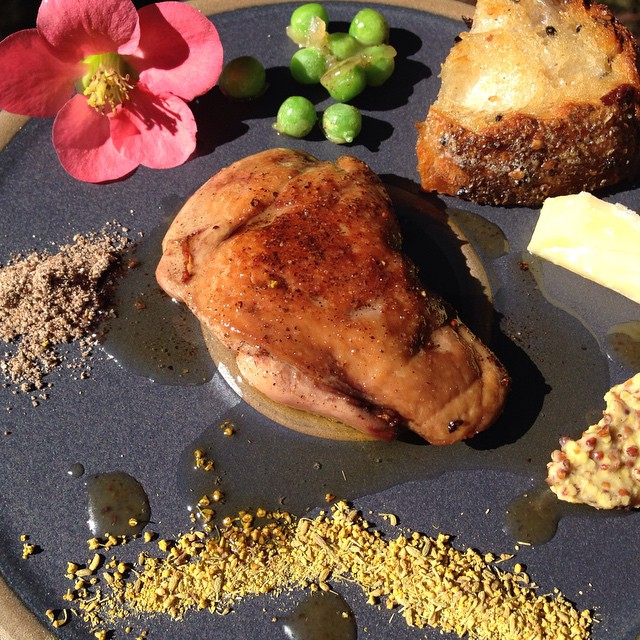 Seared foie gras, fennel pollen, shelled peas poached, olive fire roasted loaf, local sheeps cheese, ground long pepper, and the best mustard.  #winning