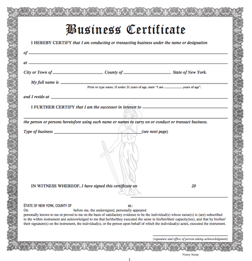 (blank copy of a business certificate to set up a sole proprietorship)