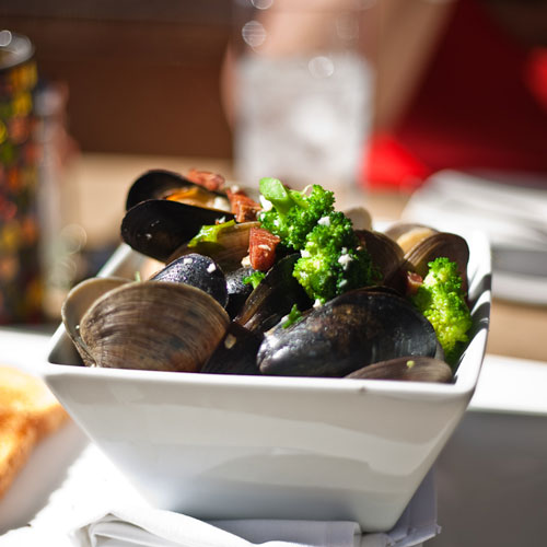 C-Level Lounge mussels and bay view