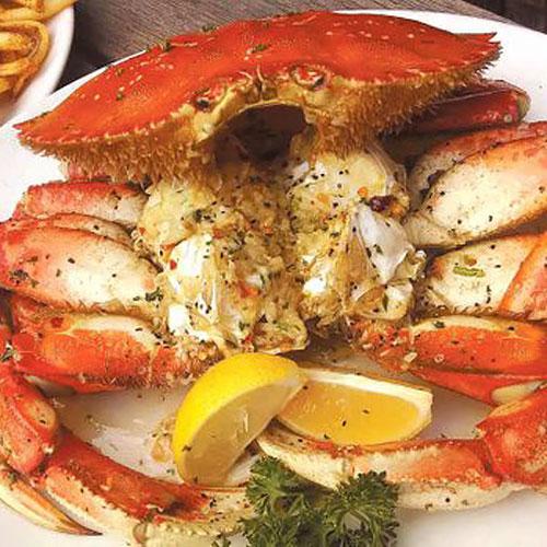 A whole crab looking at you at The Fish Market