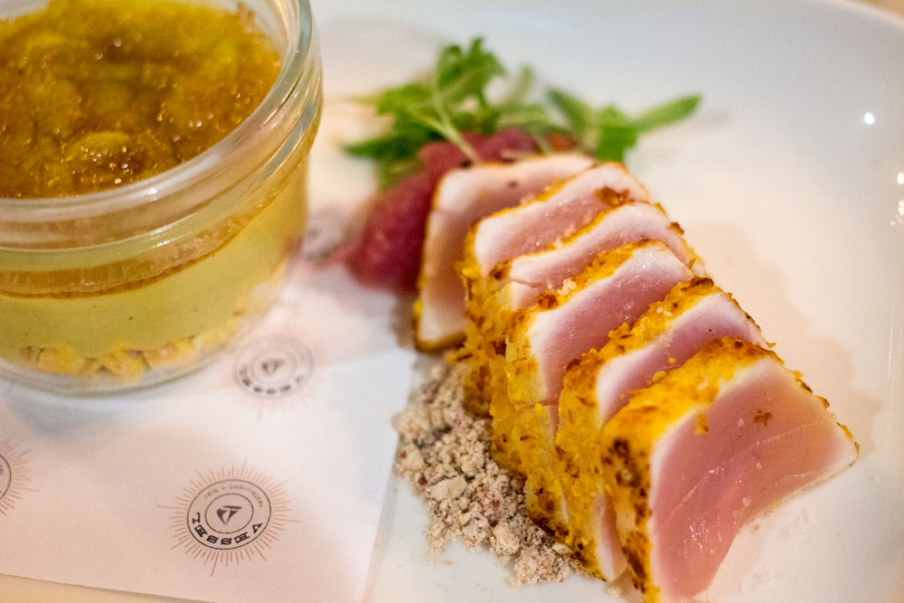 Wonderfully cooked albacore and a crazy jar of jam with crunchy corn on the bottom. Weird, but delicious.