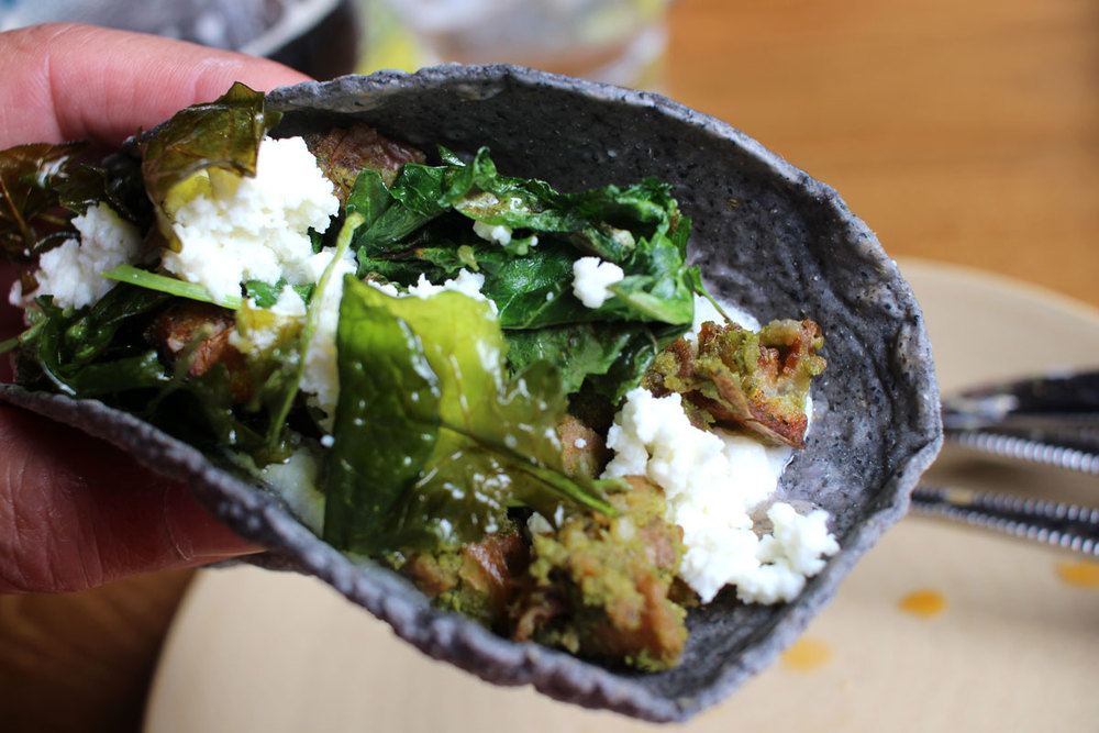 Potato, green chorizo spice, crunchy kale and queso fresca - Galaxy Tacos
