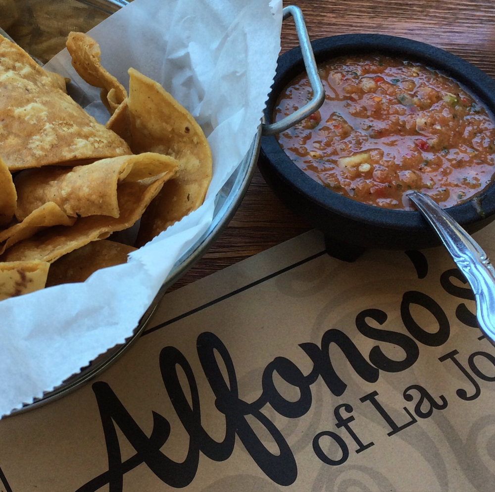 Ultra crunchy chips with the best salsa - seriously, I would drink this salsa with a shot of vodka and a straw!