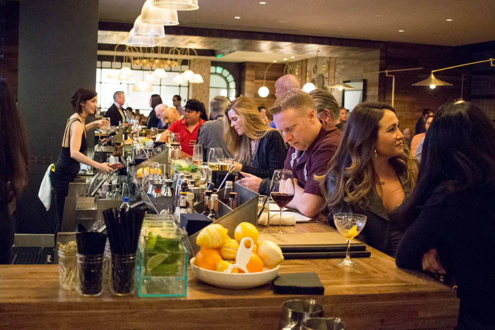 The lively bar at Lionfish in San Diego inside the Pendry Hotel