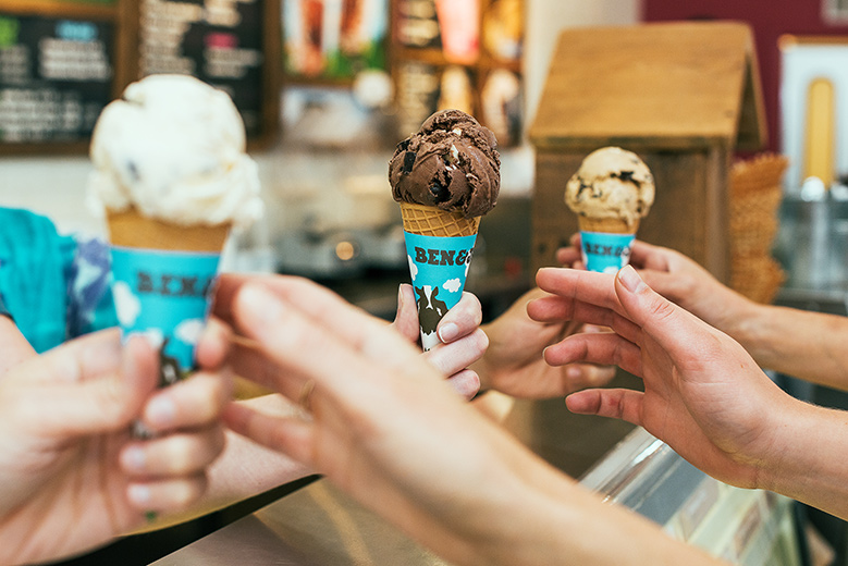 Free ice cream cone at Ben and Jerry's, Seaport Village, April 4, 2017