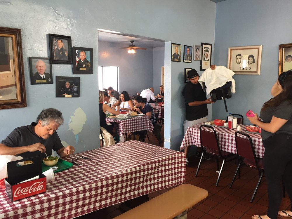 The dining room at Las Cuatro Milpas