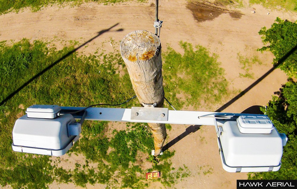 Image from a power line inspection via drone system.