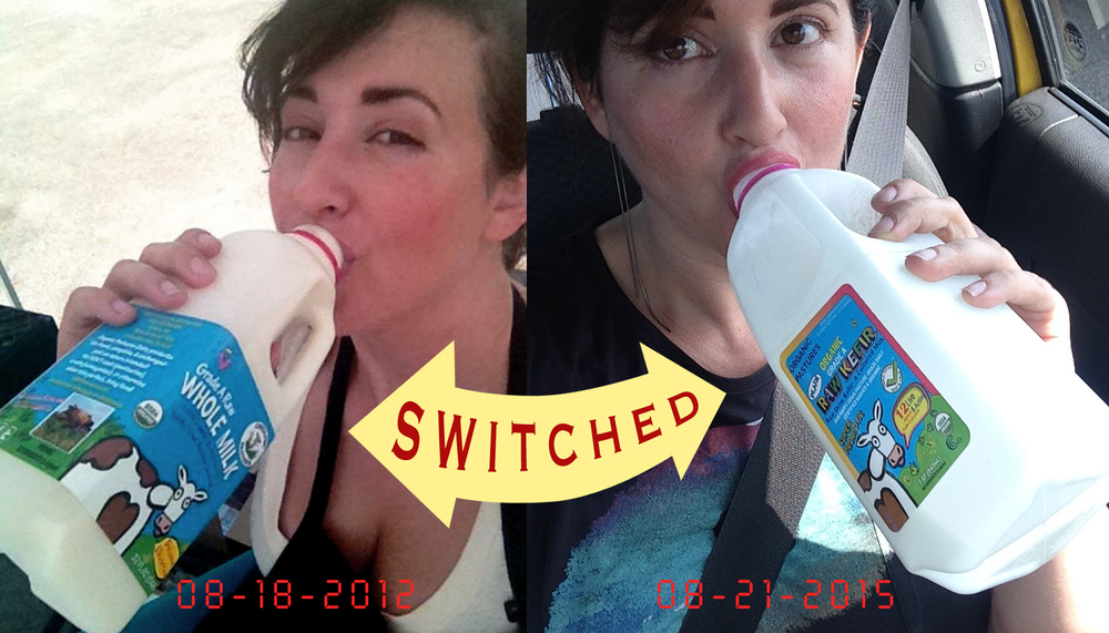 Photos: Here I am back in 2012 chugging milk and here I am in 2015 downing a quart of kefir. OK! I might take too many selfies with various food When I spied this old photo recently, it inspired me to consider #1 why I hadn't changed my hair style and #2 why I had changed my on-the-go snack of choice.