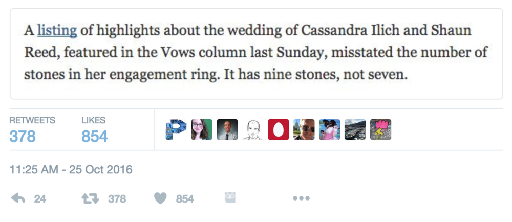 This correction could only be found in a new york times wedding while this correction from an october wedding announcement is certainly not indicative of every new york times wedding announcement i suspect that it could fandeluxe Image collections
