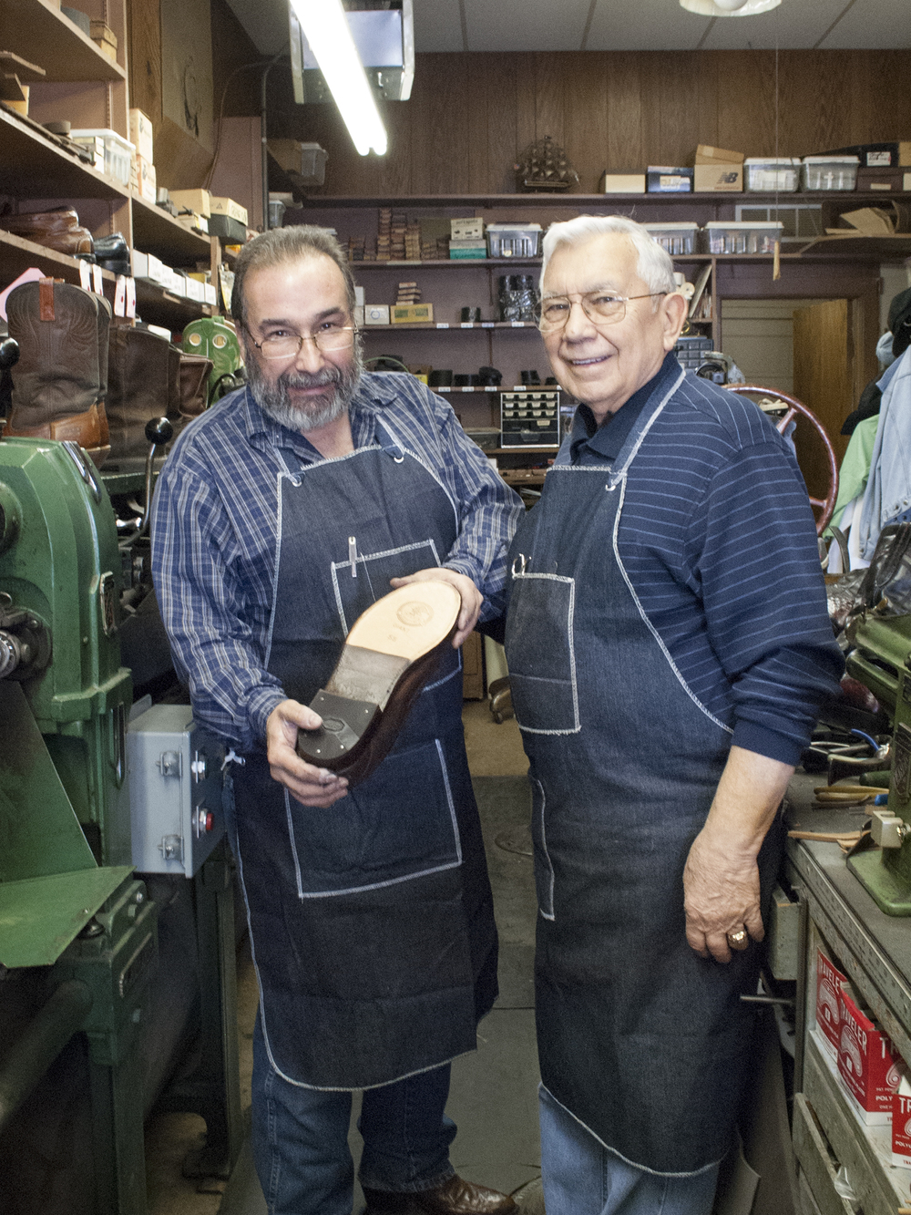 Ted and George Marinakes, shoe repair