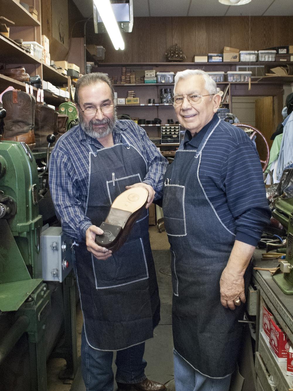 Ted and George Marinakes, shoe repair
