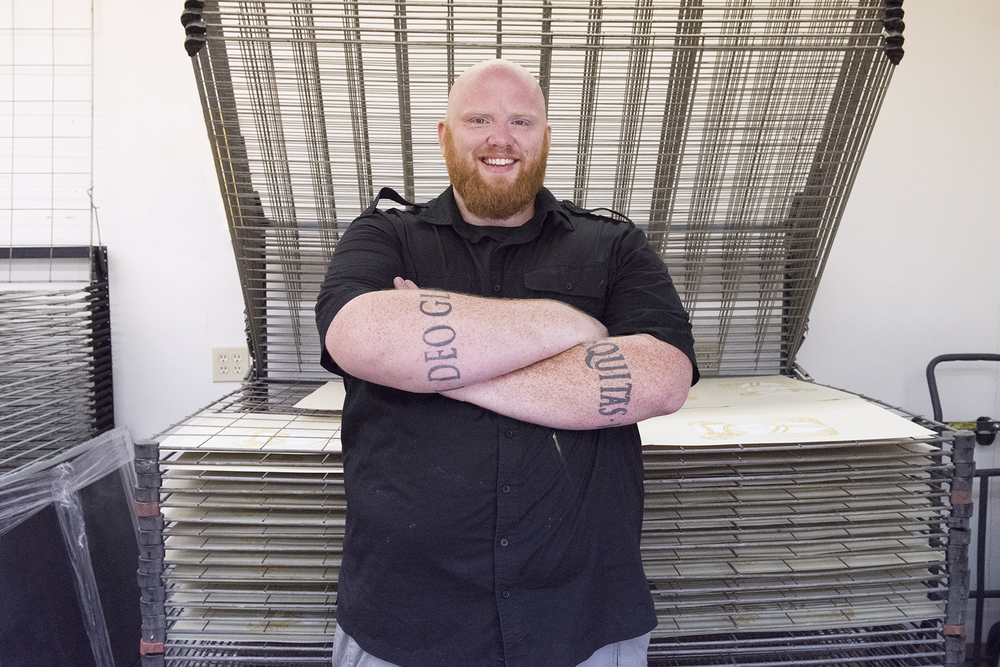 Aaron Scamihorn, screen printer/owner at RONLWEHORN