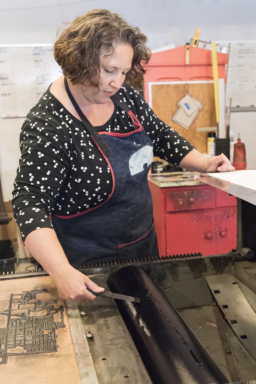 Allison Chapman, letterpress printer/owner at Igloo Letterpress