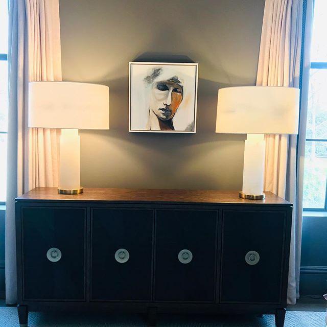 New home for my Old World Head #contemporaryart #mixedmedia #oilpainting #sumiart #interiordesign #portraitpainting #wallart #charlottesgotalot #charlottenc