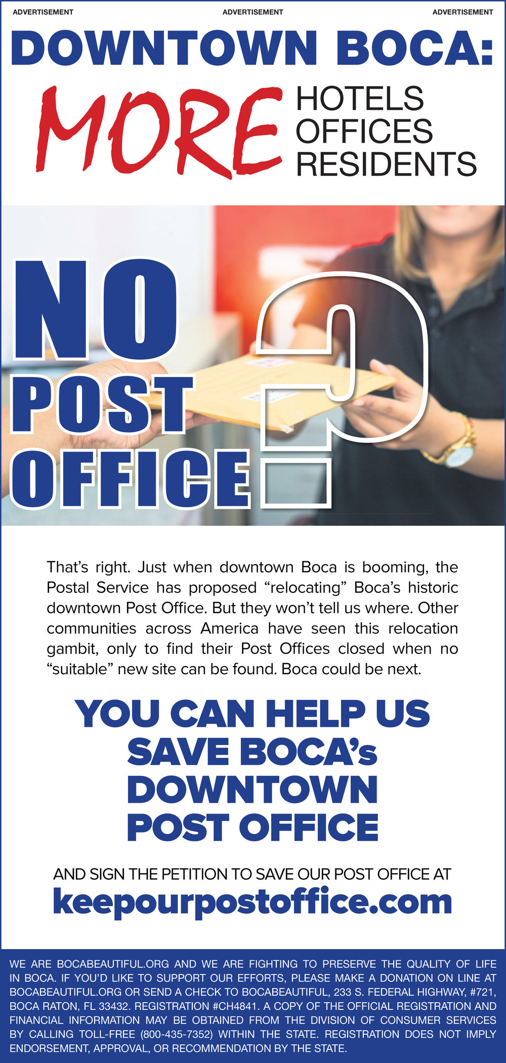 SUN SENTINEL AD TO HELP SAVE BOCA's DOWNTOWN POST OFFICE