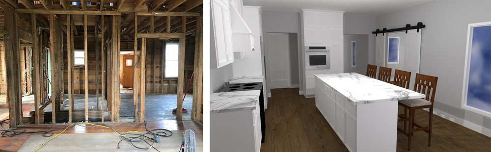 The image on the left will become the new kitchen. the image on the right is our rendering from the same perspective showing the design direction.
