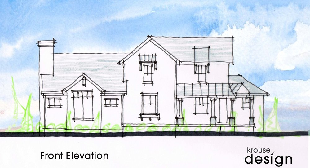 the image above is an early concept sketch of the front elevation used for design exploration.