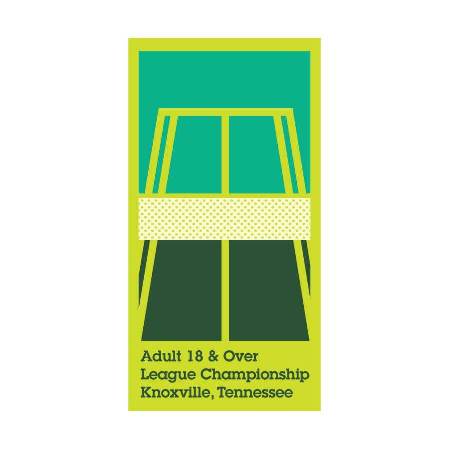 Custom screen printing design for the USTA's Adult League Championship. Screen printed design Knoxville, TN.