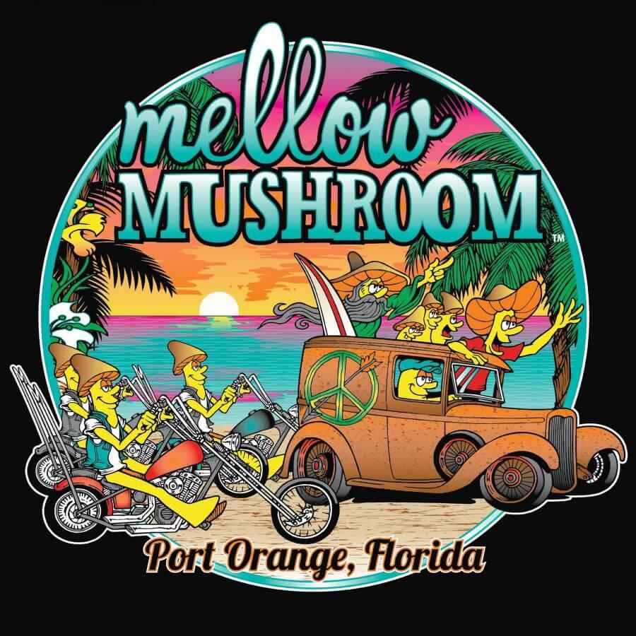 Custom art for the Port Orange, FL Mellow Mushroom. Illustrated t-shirt design. Made in Knoxville, TN.