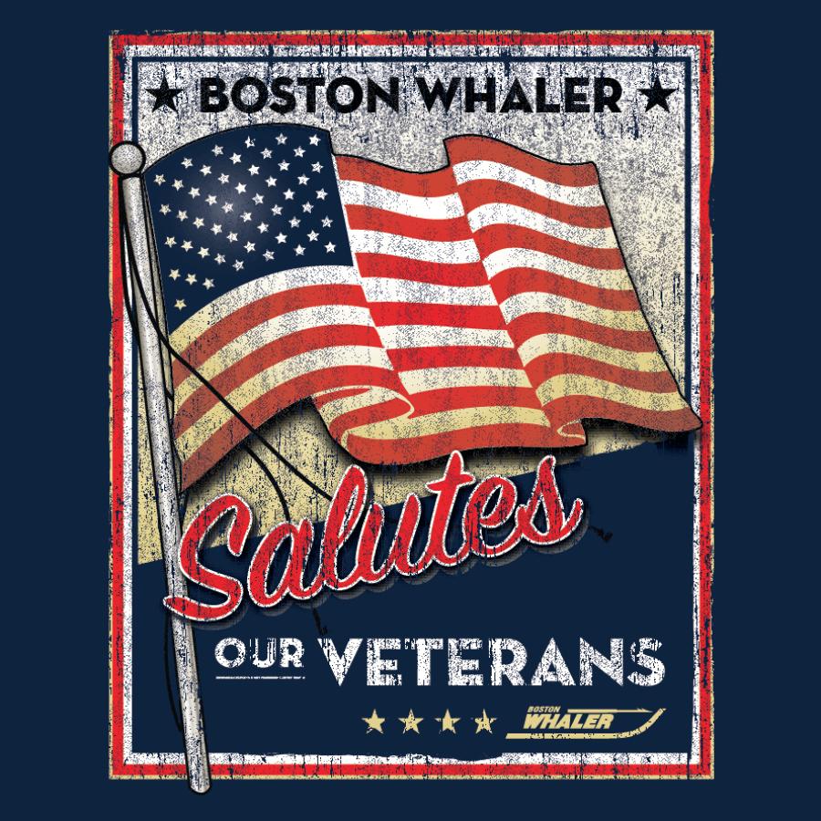 Veteran's Day design for a custom screen printed t shirt. Boston Whaler 2015 Veteran's Day t shirt.