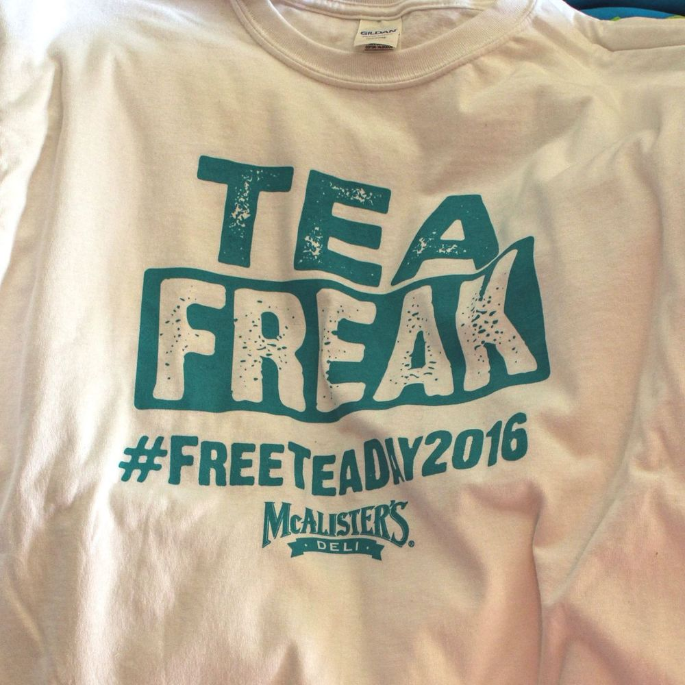 Free Tea Day. Giveaway shirt screen printed in house here in Knoxville, TN. One color front.