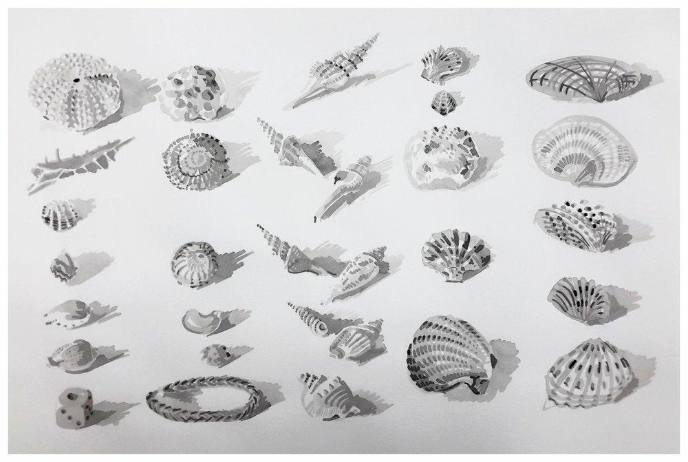 "Larger picture option 60 x 43 cm ""Beach collection, shells, dice, lom band bracelet"""