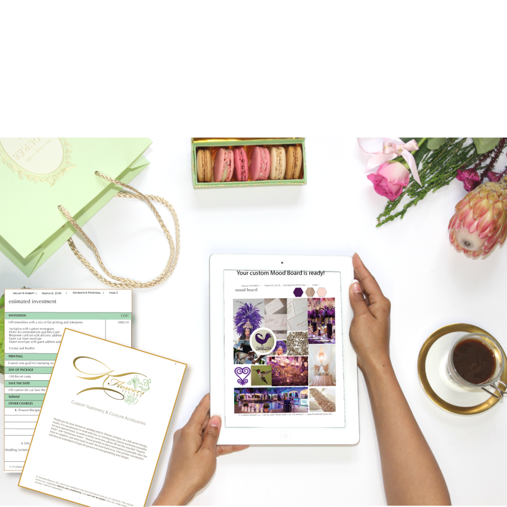 Pre-Design - I establish a theme and/or general CONCEPT for your event stationery. A follow-up meeting is scheduled to share your PERSONAL MOOD BOARD.2. We will review your CUSTOM PROJECT PROPOSAL and CONTRACT at this time. Your INITIAL INVESTMENT of 50% is required to begin the DESIGN PHASE.