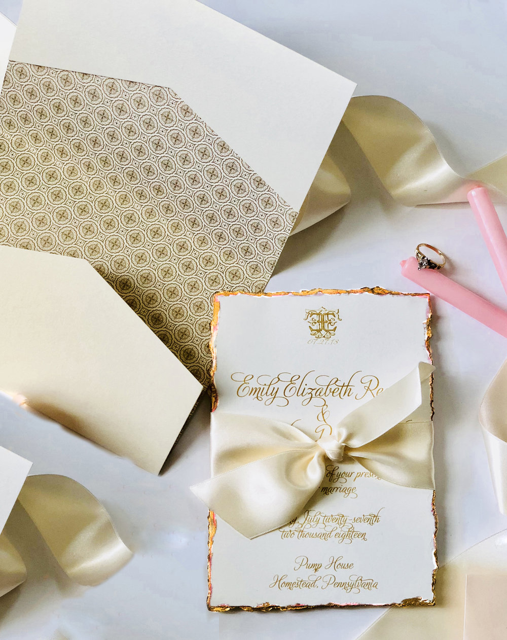 Handmade Paper  Our Deckled and Dipped Collection is one of our most romantic styles. Created with handcrafted paper and deckled to perfection. With beautiful gold edges, this style screams luxury and elegance.