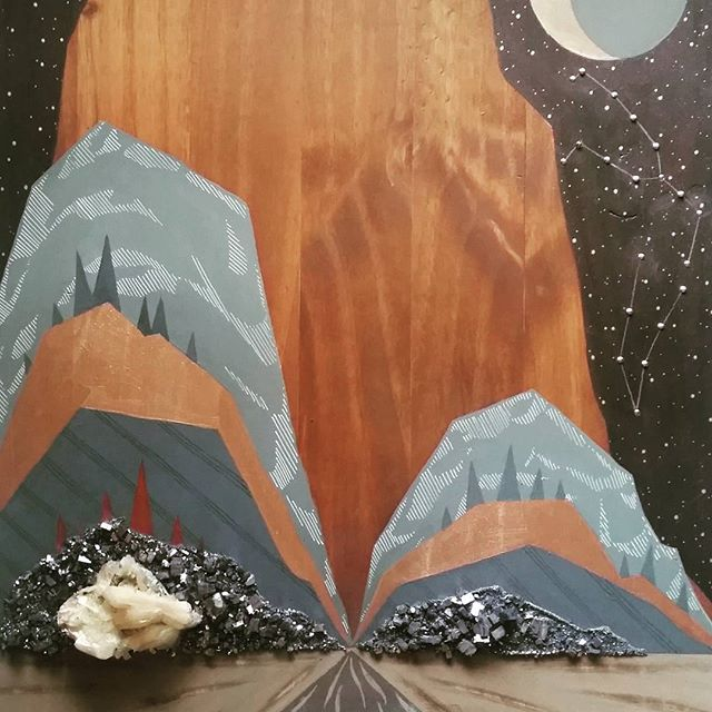 Sparkling mountains, copper pines, and brass stars. Work in progress